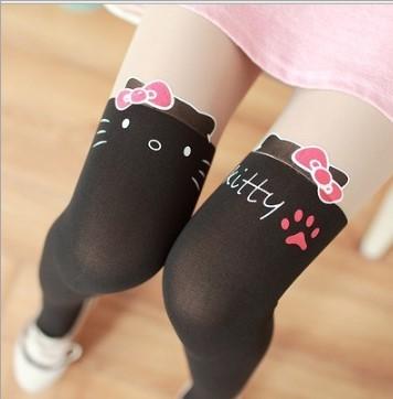 Детские колготки капроновые Hello Kitty с лапкой, черные, XL (140-160 см)