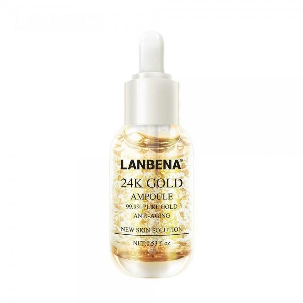 Антивозростная сыворотка для лица с нанозолотом Lanbena 24K Gold, 40 гр