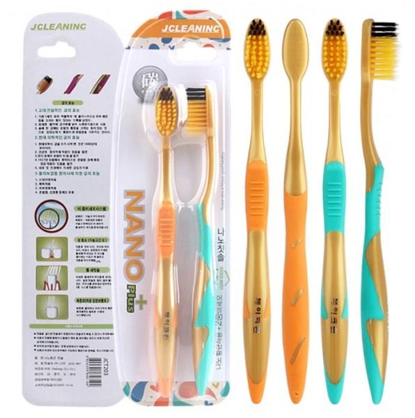 Зубные щетки с бамбуковым углем и ионами золота JCleaning (2 шт)