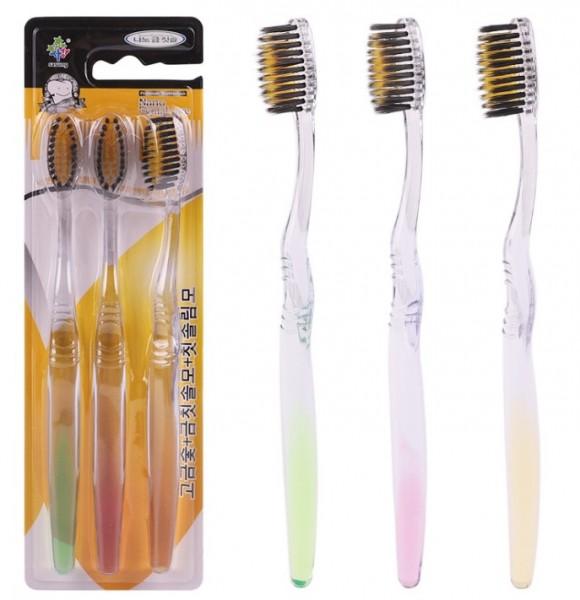 Зубные щетки с бамбуковым углем и ионами золота Sasung (3 шт прозрачная ручка)