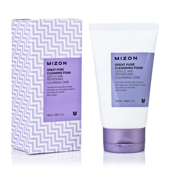 Mizon Great Pure Cleansing Foam Скрабирующая пенка для очищения кожи лица, 120 мл