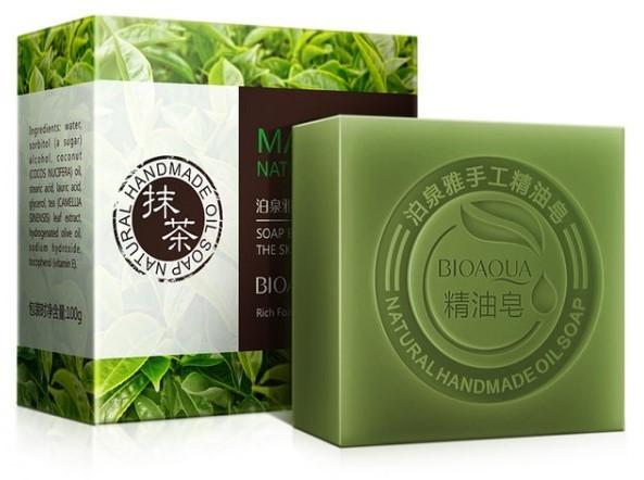 Натуральное мыло с экстрактом чайного листа и кокосовым маслом Bioaqua Matcha Natural Oil Soap, 100 гр