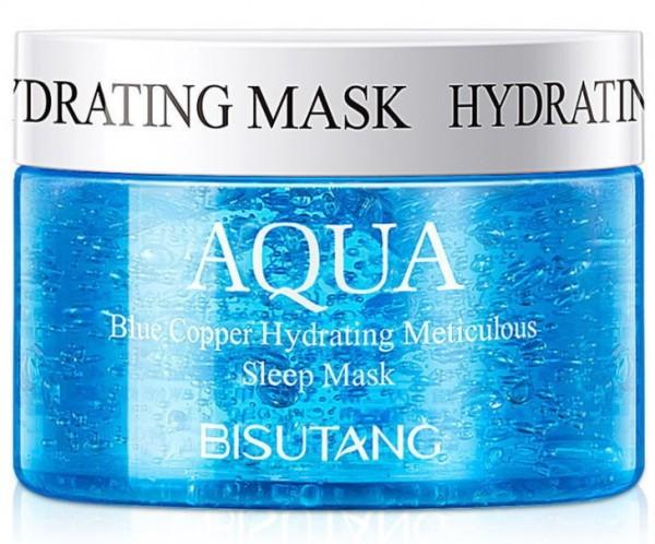 Bisutang Aqua Blue Copper Hydrating Sleep Mask Несмываемая ночная маска с гиалуроновой кислотой и китайскими травами, 120 гр