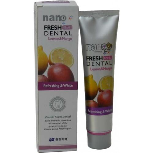 Зубная паста с ионами серебра и натуральными экстрактами фруктов Лимон и Манго Nano Fresh Dental