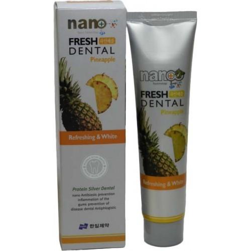 Зубная паста с ионами серебра и натуральными экстрактами фруктов Ананас Nano Fresh Dental