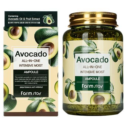 FarmStay Avocado All-In-One Intensive Moist Ampoule Многофункциональная ампульная сыворотка с экстрактом авокадо, 250 мл