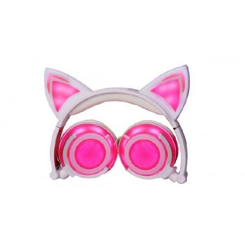 Светящиеся наушники с ушками, цвет розовый