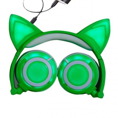 Светящиеся наушники с ушками, цвет зеленый