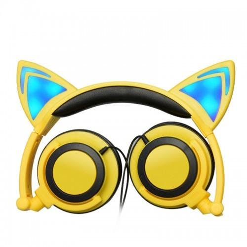 Светящиеся наушники с ушками, цвет желтый