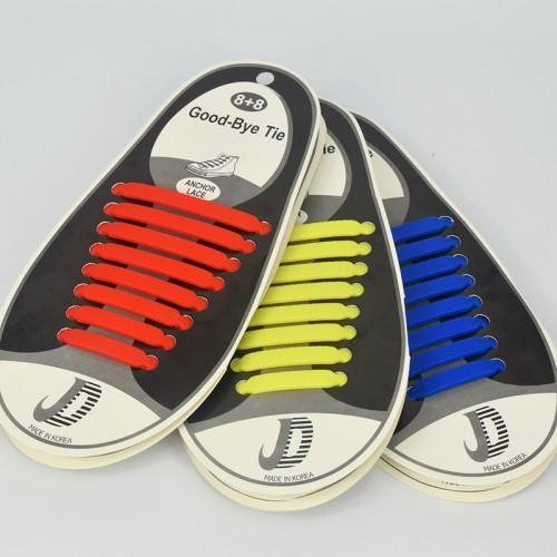 Силиконовые шнурки GOOD BYE TIE, 8+8 шт, цветные