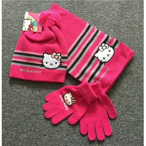 "Шапка+Шарф+Перчатки ""Hello Kitty"" с помпоном"