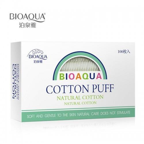 Паффы для снятия макияжа из органического хлопка Bioaqua Cotton Puff, 100 шт