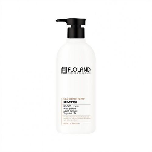 Шампунь для поврежденных волос Floland Premium Silk Keratin Shampoo, 530 мл