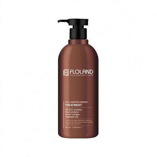Восстанавливающая маска-бальзам для волос с кератином Floland Premium Silk Keratin Treatment, 530 мл